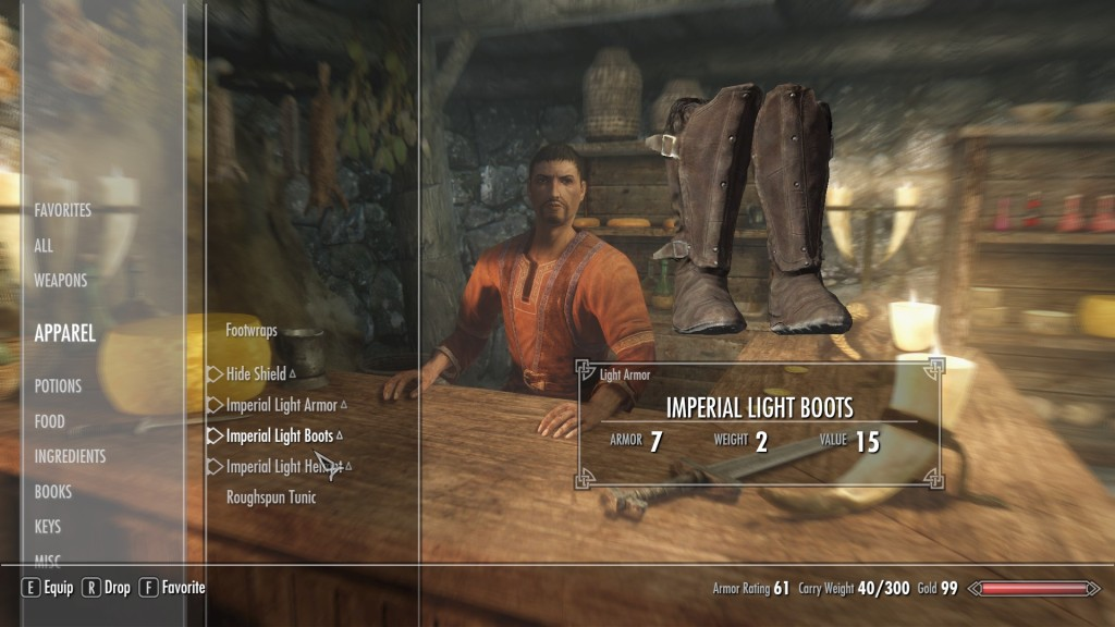The unmodded skyrim inventory - Lots of scrolling around thanks to the need for gamepad usability