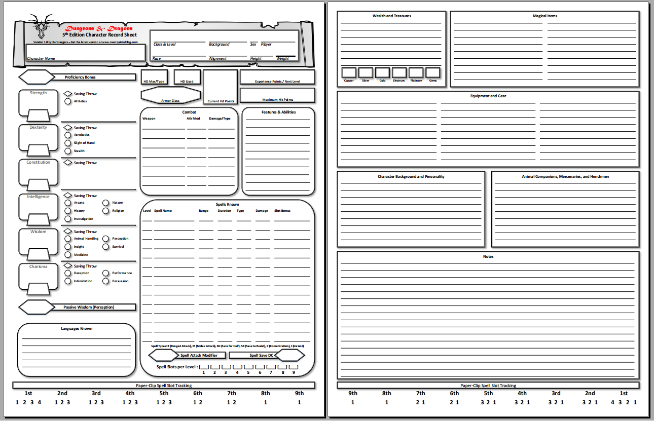 Transformative image with d&d 5e printable character sheet