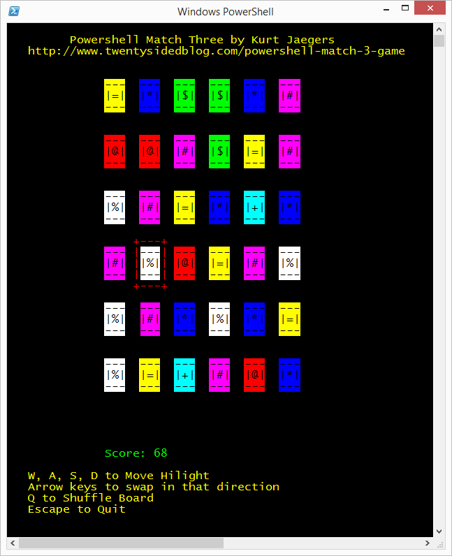 "A version of a ""match-3"" style game written using RawUI in Powershell."
