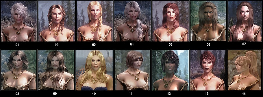 "A tiny handful of the available hairstyles. Check the ""files"" page of the nexus site for a full image."