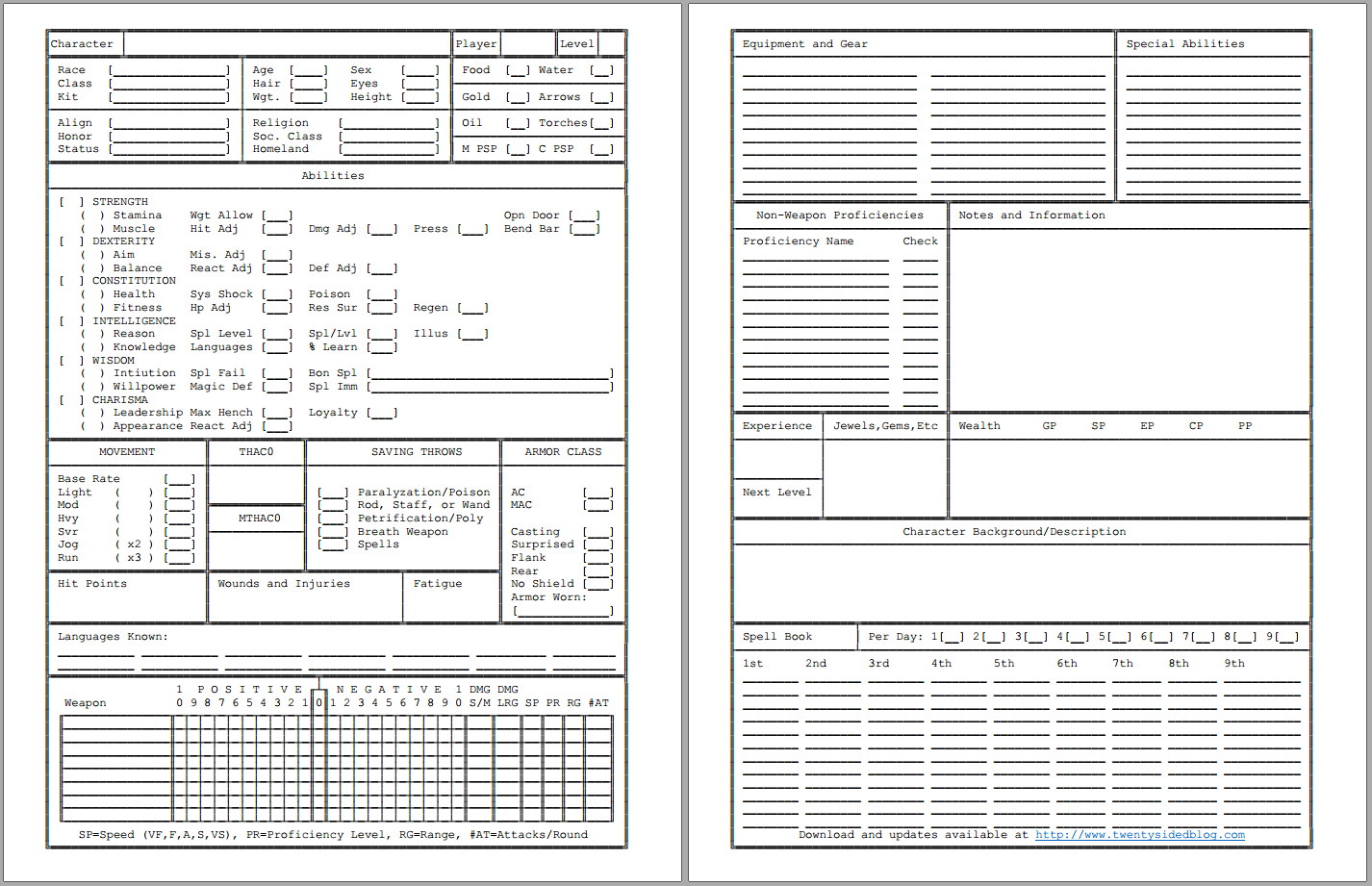 Old School AD&D 2E Character Sheet
